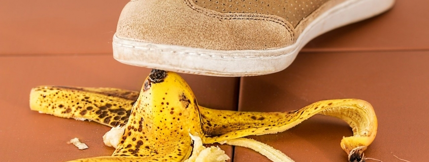 shoe slipping on banana