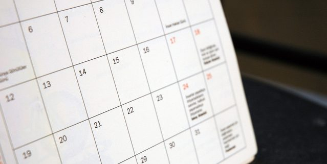 one page of a calendar