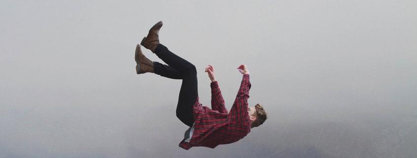 man falling through the air